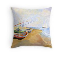 Boats On The Beach At Saintes-Maries after Van Gogh Throw Pillow