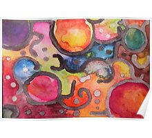 Multicolor Abstract Watercolor by Candace Byington Poster