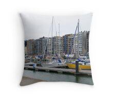 Yacht port Blankenberg - Belgium Throw Pillow