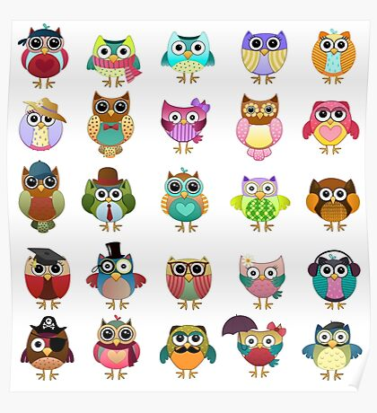 Cute Owls Set Poster