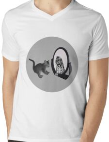 ♥•.¸¸MIRROR OF TRUTH WHAT DO I SEE?..I SEE THE REAL TIGER IN ME.. TEE SHIRT♥•.¸¸  Mens V-Neck T-Shirt