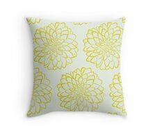 Yellow dahlia pattern on white background Throw Pillow