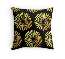 Gold daisies pattern Throw Pillow