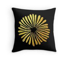 Black gold daisies Throw Pillow