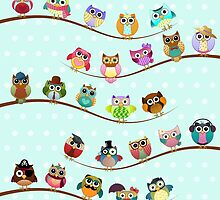 Cute Owls on Branch by kennasato