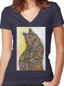 Flower Meow Women's Fitted V-Neck T-Shirt