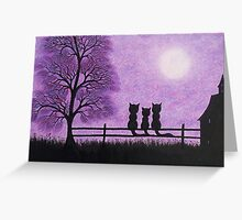 Cats with Tree and Moon: Three Cats Silhouettes, Kids Art Greeting Card