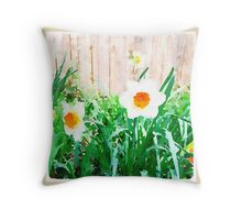 Painted Daffodils Throw Pillow