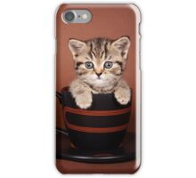 Funny striped kitten in a cup iPhone Case/Skin