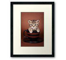 Funny striped kitten in a cup Framed Print