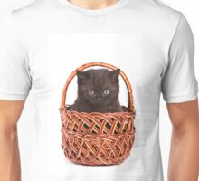 Cute black kitten in a basket Unisex T-Shirt