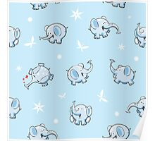 Pattern with elephants. Poster