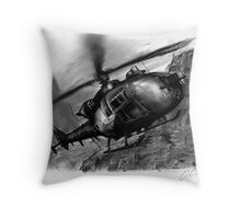 Gazelle Helicopter Ink Drawing Throw Pillow