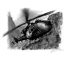 Gazelle Helicopter Ink Drawing Photographic Print