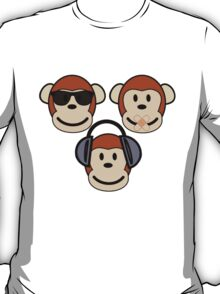 Illustration of Cartoon Three Monkeys - See, Hear, Speak No Evil T-Shirt