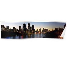 Brisbane City Sunset Panorama Poster