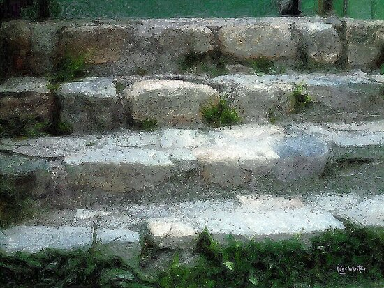 Fieldstone Stairs, New England by RC deWinter