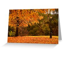 The lamp post in autumn in Bright Greeting Card