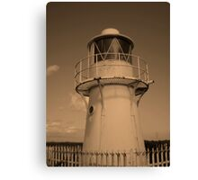 Lighthouse, Sea Wall. Newport Canvas Print