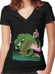 Putin Riding Pepe Frog Women's Fitted V-Neck T-Shirt