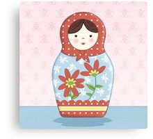 Matryoshka Doll Red & Blue Canvas Print