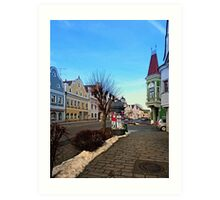 Pictoresque traditional village center   architectural photography Art Print
