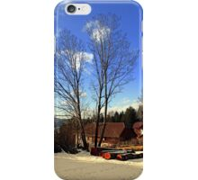 Trees and a farm in winter wonderland | landscape photography iPhone Case/Skin