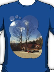 Trees and a farm in winter wonderland | landscape photography T-Shirt