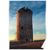 The tower of Waxenberg castle in the sunset | architectural photography Poster