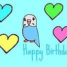 Budgie Birthday Card by parakeetart