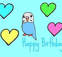Budgie Birthday Card by parakeetart