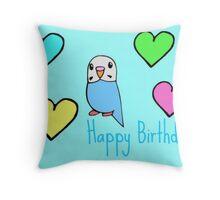 Budgie Birthday Card Throw Pillow