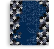 Jigsaw puzzle pieces BLUE Canvas Print
