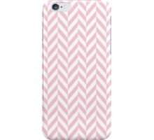 Girly pink white pastel vintage chevron pattern iPhone Case/Skin
