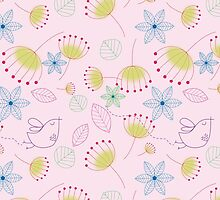 Cute pastel pink yellow birds floral pattern by Maria Fernandes