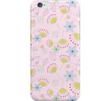 Cute pastel pink yellow birds floral pattern iPhone Case/Skin