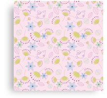 Cute pastel pink yellow birds floral pattern Canvas Print
