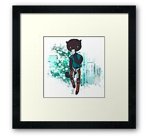 Cool Kitty with mobile Framed Print