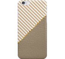 Vintage brown beige faux leather striped pattern iPhone Case/Skin