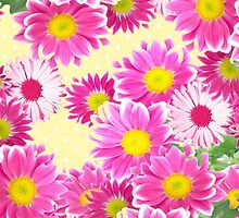 Pink white daisies floral polka dots pattern by Maria Fernandes