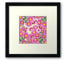 Pink white daisies floral polka dots pattern Framed Print