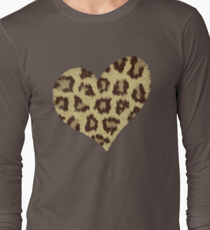Heart Jaguar Print Long Sleeve Shirt Long Sleeve T-Shirt