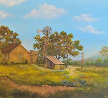 Farmhouse and Windmill in the Spring by Paul Jenkins