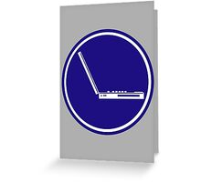 LAPTOP PARKING ROAD SIGN Greeting Card