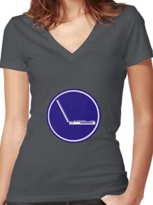 LAPTOP PARKING ROAD SIGN Women's Fitted V-Neck T-Shirt