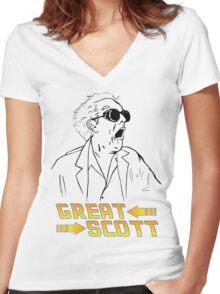 BTTF Great Scott Women's Fitted V-Neck T-Shirt