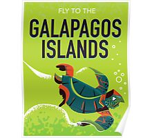 Galapagos Islands vintage travel poster art. Poster