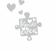 White Best Friends Forever Connection Puzzle (right) by XOOXOO