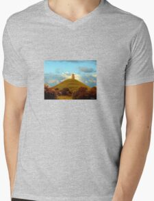 Glastonbury Tor Mens V-Neck T-Shirt