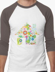 Floral colorful abstract  Men's Baseball ¾ T-Shirt
